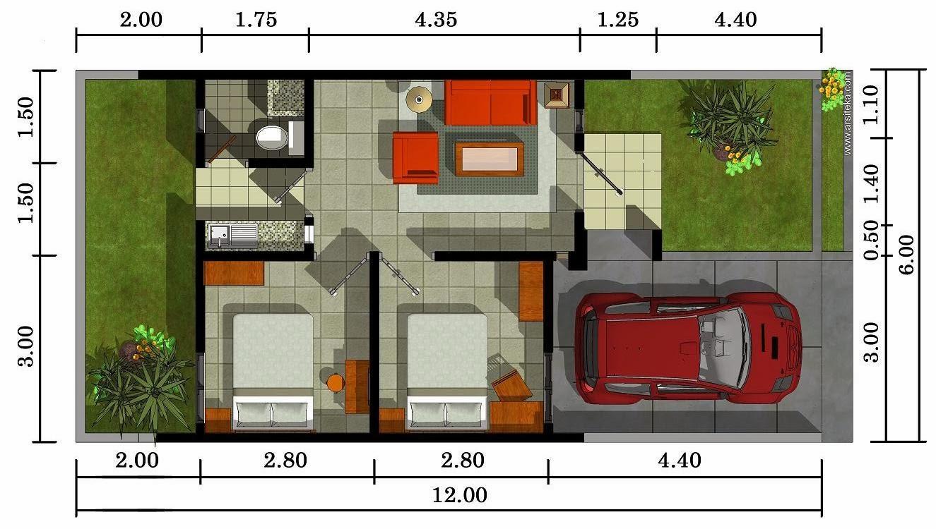 Denah Rumah Minimalis 1 Lantai 2 Kamar Tidur