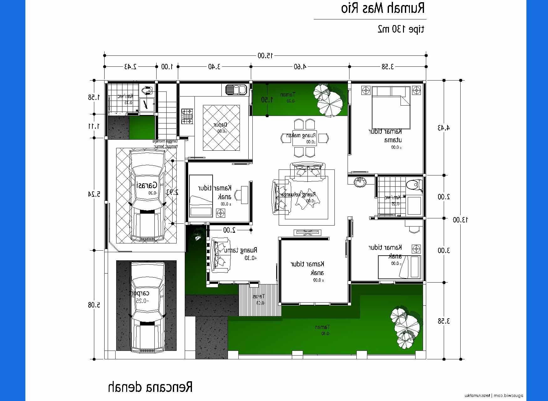 Rumah Minimalis 1 Lantai 3 Kamar Tidur 2016