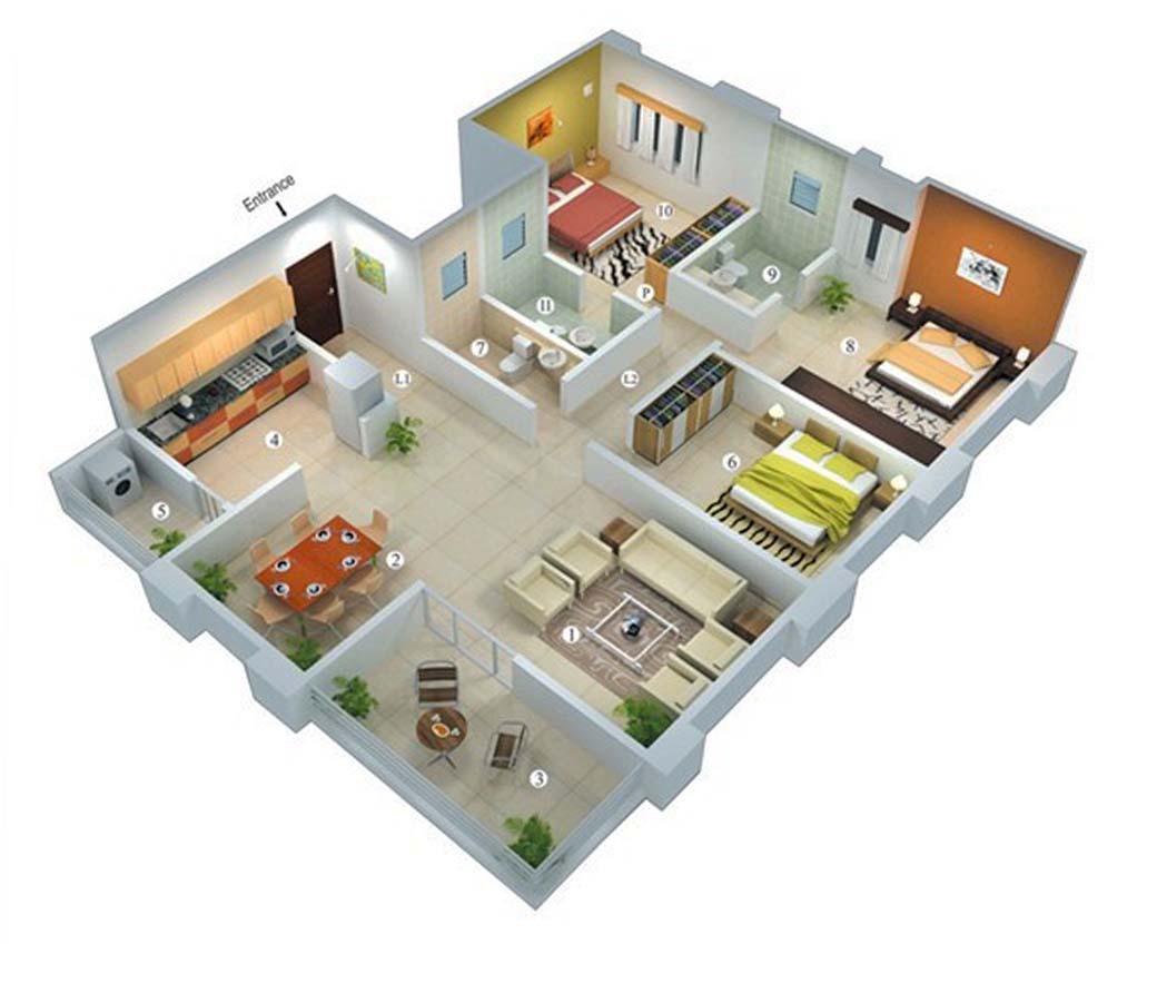 Rumah Minimalis 1 Lantai 3 Kamar